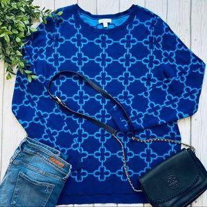Charter Club HL Jacquard Print Blue Sweater XL